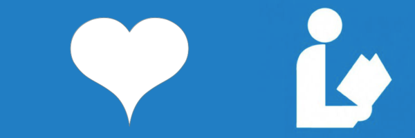 heart and library symbol--a silhouette of a person reading a book--on a blue background