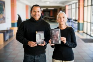 JJ Wilson (left) and Sharman Apt Russell hold their award-winning books