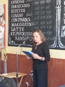Beate Sigriddaughter reads at an event in February 2015.