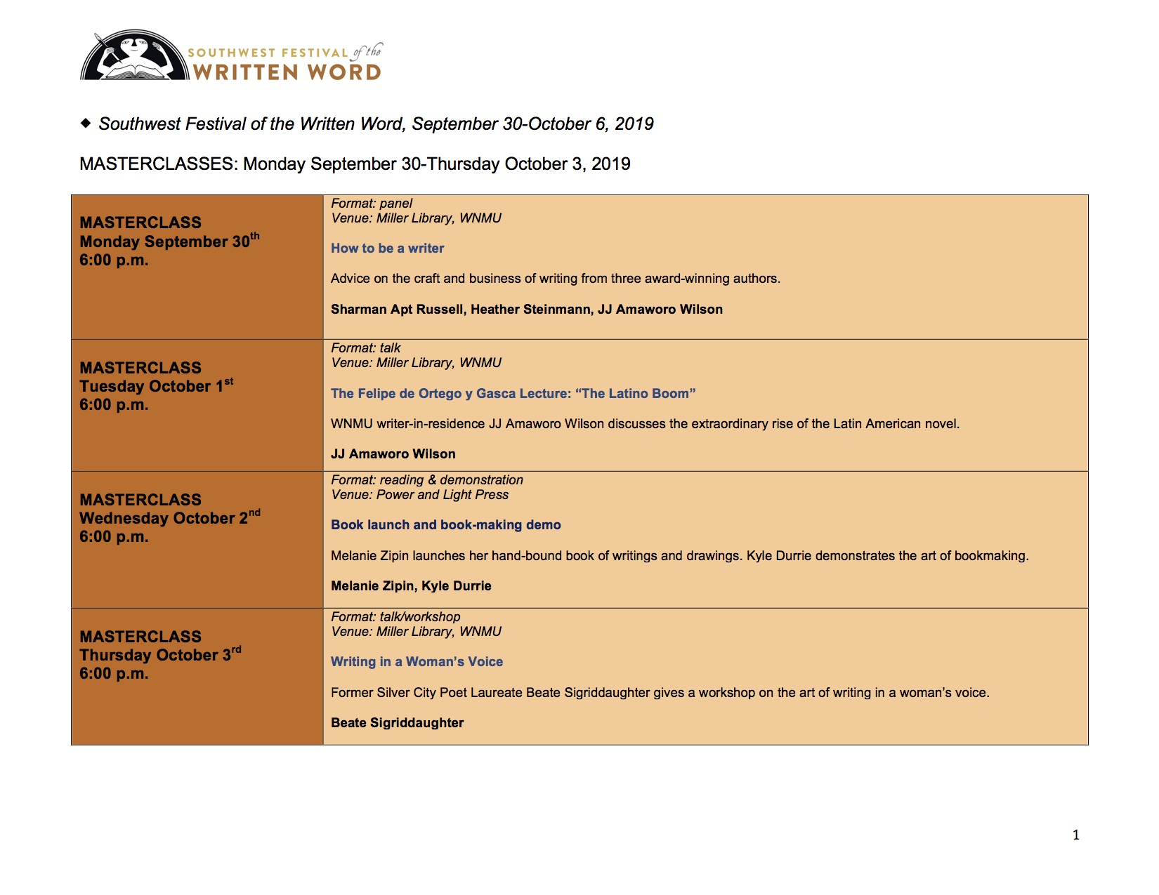 2019 Festival Schedule   Southwest Festival of the Written Word